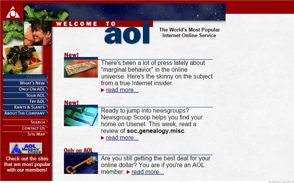 AOL – Here's what your favorite websites looked like 20 years ago – CNNMoney