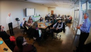 City officials and local business experts meet with a group of visiting Young Leaders of the Americas Initiative fellows at the Adams Hub for Innovation in Carson City, Nev. on Wednesday, Oct. 19, 2016.  Photo by Cathleen Allison